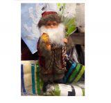 Санта Клаус в бархатном кафтане с кристаллом 30 см