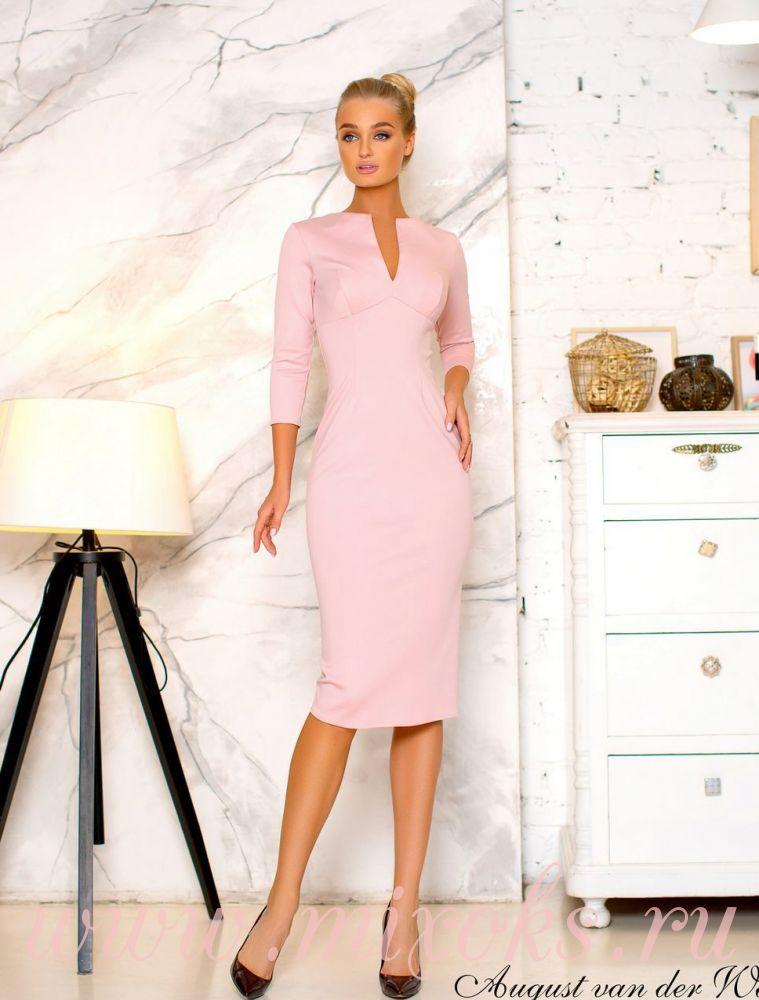 Платье футляр розовое с рукавами