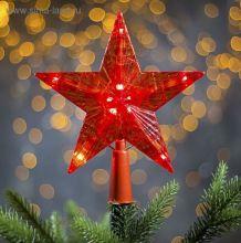 Украшение Звезда Красная ёлочная гирлянда 16Х16 см светящаяся