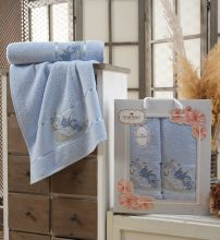 Комплект из 2-х махровых полотенец  Flowers 50*90+70*140 Арт.558.06
