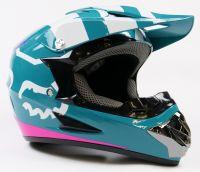 Детский шлем кроссовый Fox (Зелено - Розовый)