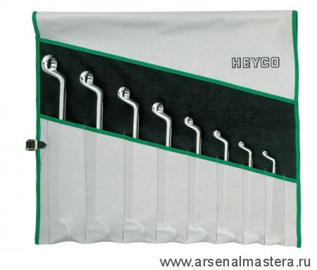 Набор накидных двусторонних изогнутых ключей, Клещи балансировочные 260 мм 8 шт  6х7, 8х9, 18х11, 12х13, 14х15, 16х17, 18х19, 20х22 мм в сумке-скрутке HEYCO