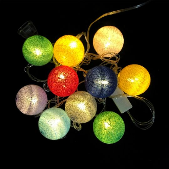 Электрическая гирлянда Шарики, разноцветная, 10 шт