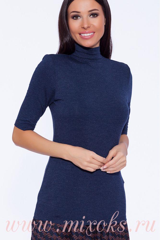 Водолазка женская синяя с коротким рукавом
