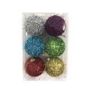 Набор новогодних шаров в мишуре 5 см, 6 шт