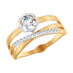 Кольцо из золота с фианитами 017922 SOKOLOV