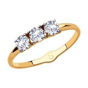 Кольцо из золота с фианитами 017957 SOKOLOV