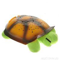 Ночник музыкальный проектор звездного неба Черепаха, Цвет: Салатовый, Панцирь: Оранжевый