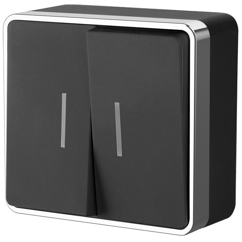 Выключатель двухклавишный с подсветкой Werkel Gallant черный/хром WL15-03-03 4690389130304