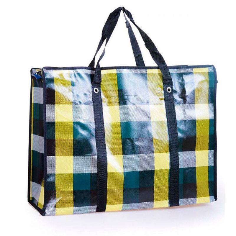 Двухслойная прочная хозяйственная сумка на молнии, 50х35х20 см, цвет зеленый