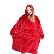 Толстовка-плед с капюшоном Huggle Hoodie, цвет красный