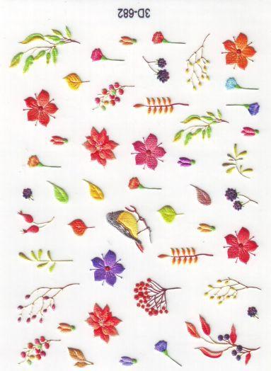 3D Слайдер-дизайн 3D 682 цветочки, листики