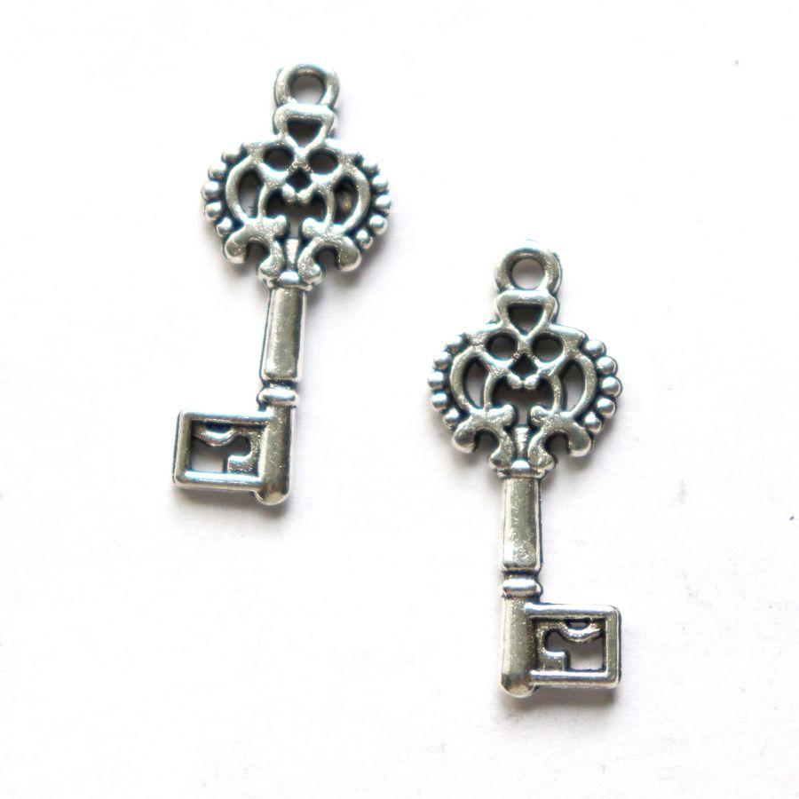 Подвески металлические, Ключ, 30*15 мм, тибет.серебро, 4 шт/упак