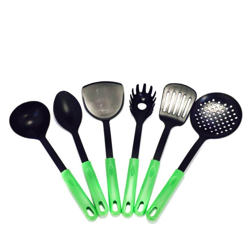 Набор Кухонных Принадлежностей Из Нейлона Kitchen Tools, 6 Предметов, Цвет Зеленый
