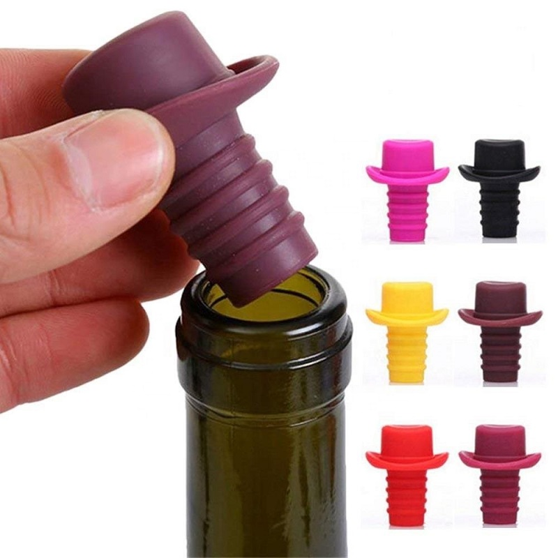 Пробка Для Бутылок Шляпа Silicone Bottle Stoppers, Цвет Коричневый
