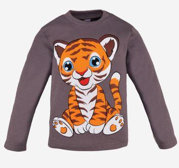 Лонгслив с начесом для мальчиков 1-4 лет BK006 серый тигр