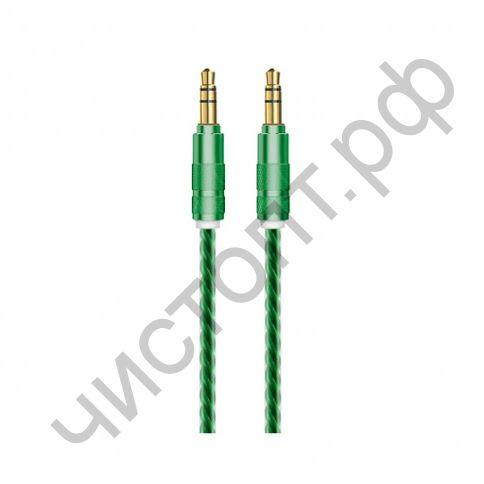 Кабель(3.5) папа-папа 3.5 stereo plug на 3.5 stereo plug OXION 1м, прозрачн. изоляция мет. штекер зелёный (OX-AUX009GR) блистер