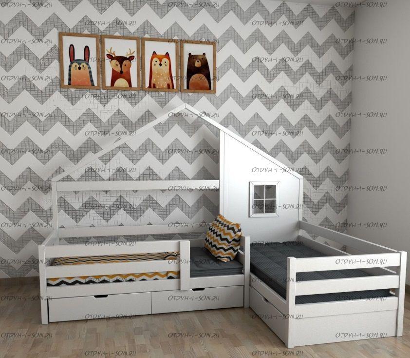 Кровать Домик угловой Fairy Land №21 (для двоих детей), любые размеры