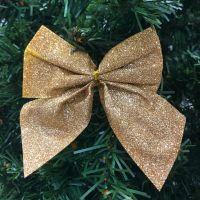 Новогоднее украшение Блестящие бантики, 3 шт, цвет золотистый (1)