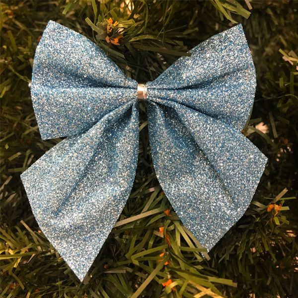 Новогоднее украшение Блестящие бантики, 3 шт., Цвет: Синий