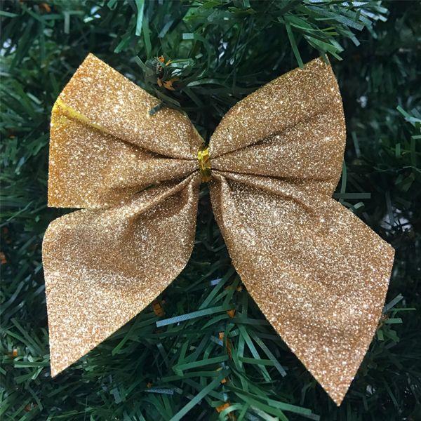 Новогоднее украшение Блестящие бантики, 3 шт., Цвет: Золотой оттенок
