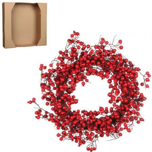 Венок из красных ягод 50см
