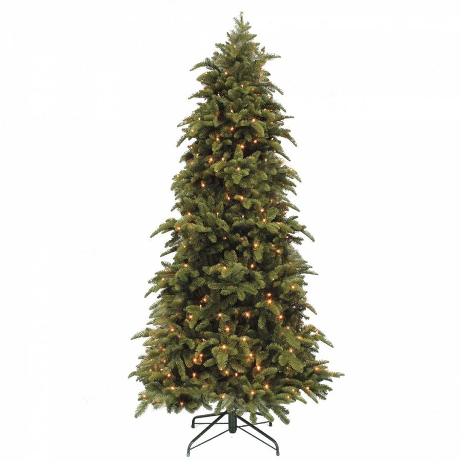 Искусственная елка Нормандия стройная 230 см 312 лампы темно-зеленая