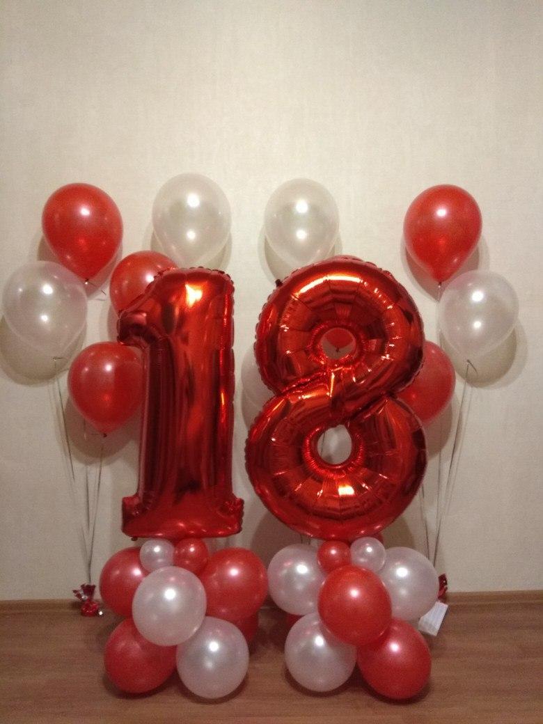 Оформление с 2 цифрами и 4 фонтанами по 3 шара