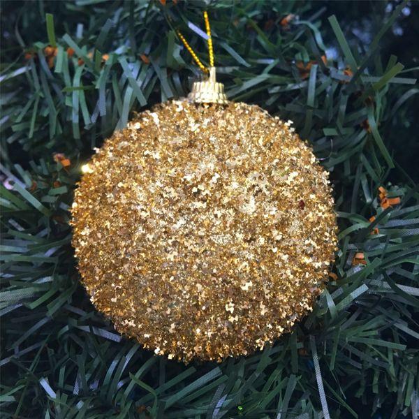 Набор новогодних шаров в мишуре, 6 шт, Диаметр шаров: 6 см