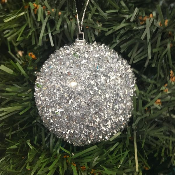 Набор новогодних шаров в мишуре, 6 шт, Диаметр шаров: 8 см