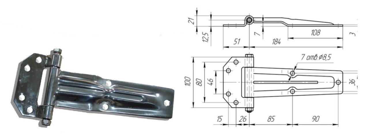 Петля бокового портала 185 мм SS (коническая) (Арт: 41125)