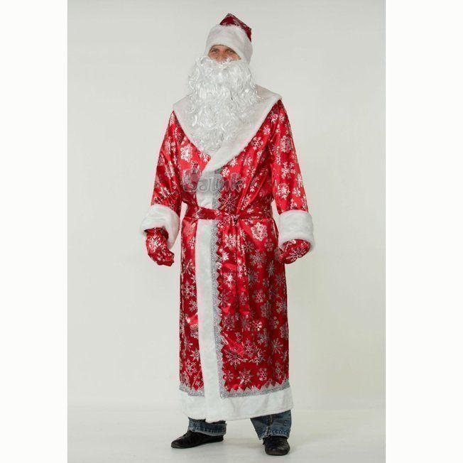 Костюм карнавальный Дед Мороз, сатин красный