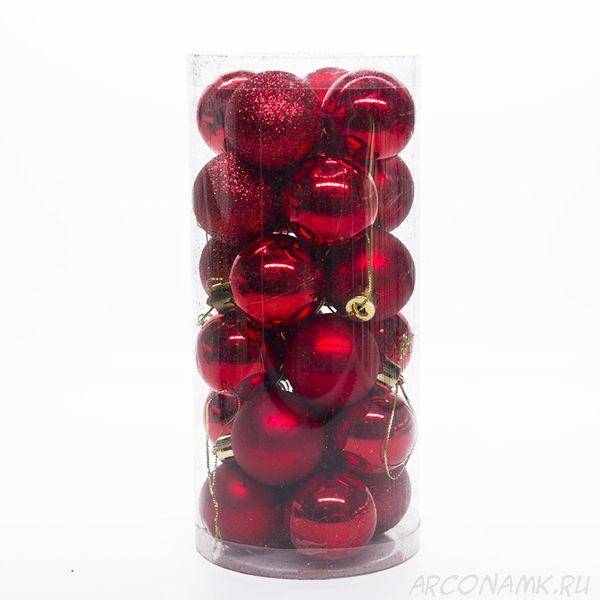 Набор украшений для елки Шары 4 см, 24 шт., Цвет: Красный