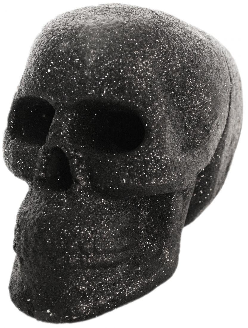 Черный череп с блестками