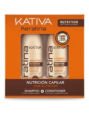 KERATINA Набор укрепляющий шампунь + кондиционер с кератином для всех типов волос 2х100мл Kativa