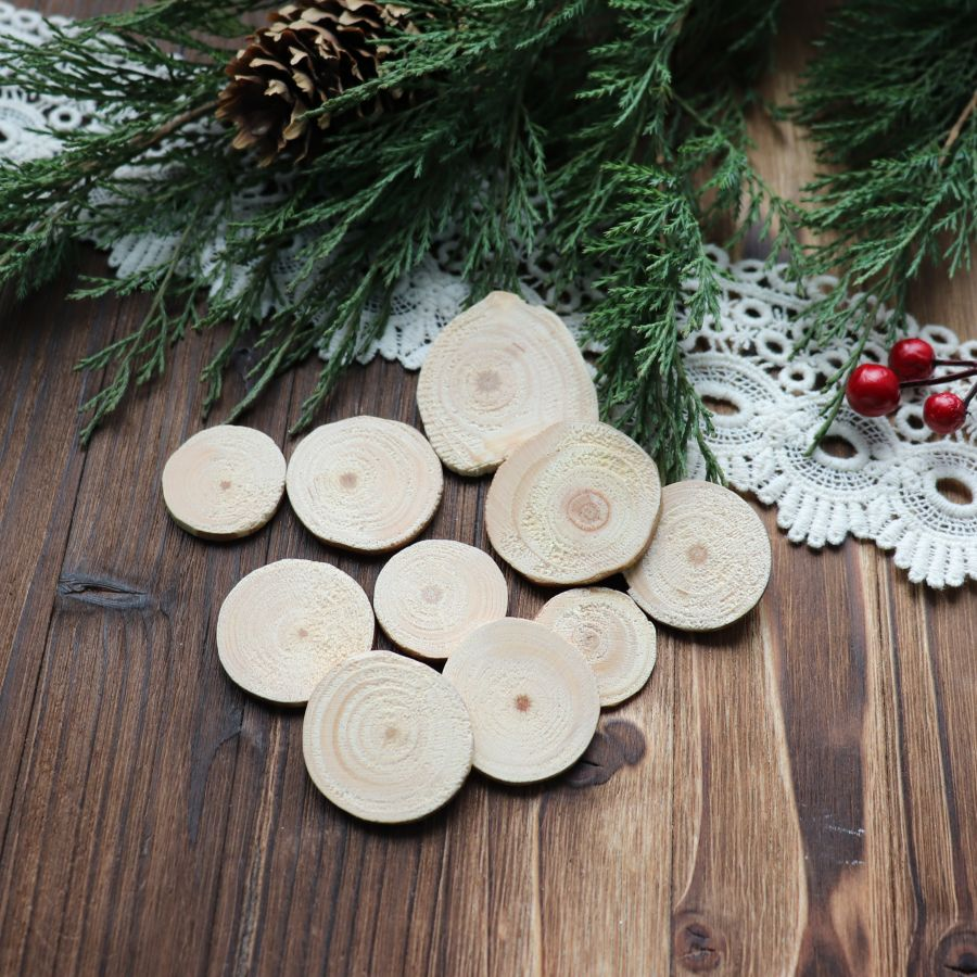 Спил деревянный, d=3-4 см, 10 шт/упак