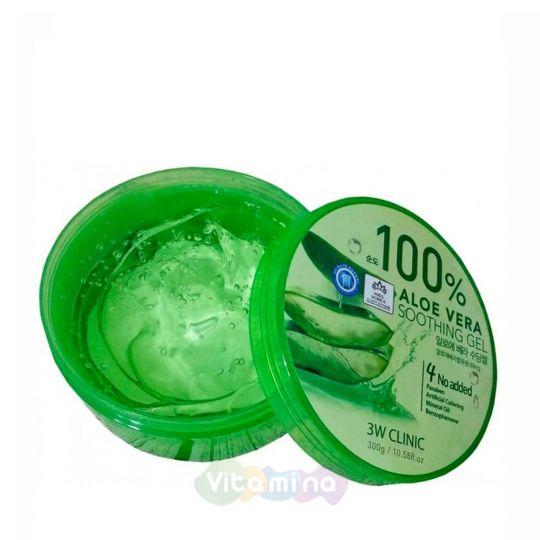 3W CLINIC Универсальный увлажняющий гель с алоэ вера Aloe Vera Soothing Gel, 300 мл