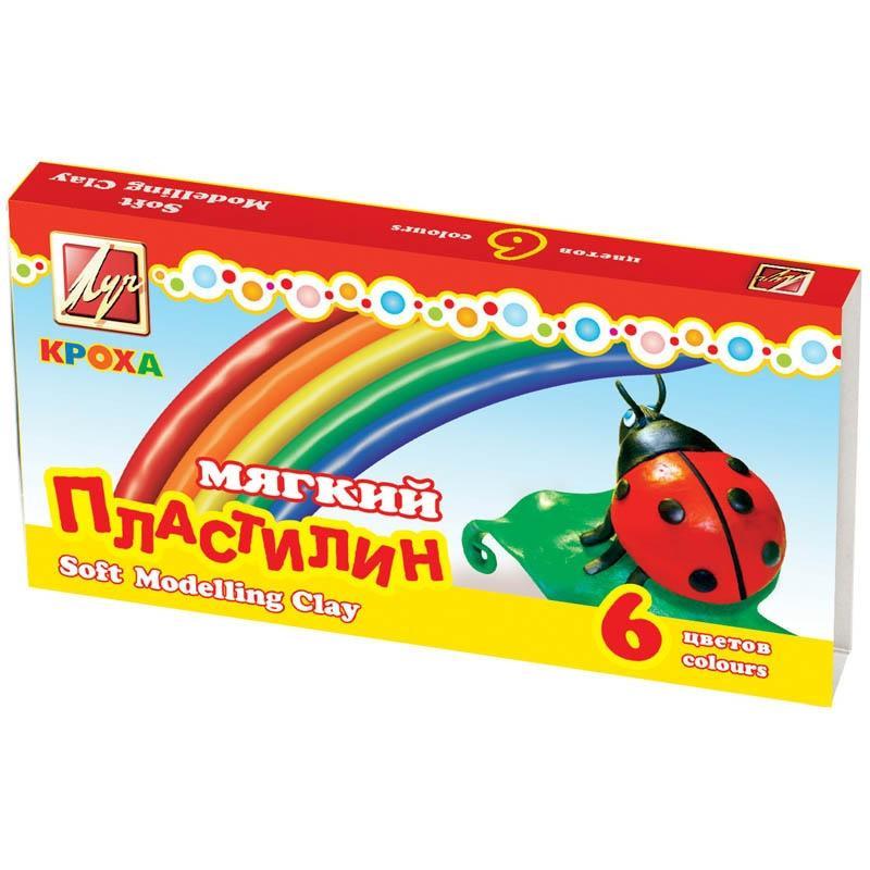Пластилин восковой мягкий КРОХА 6 цв. 99 г стек