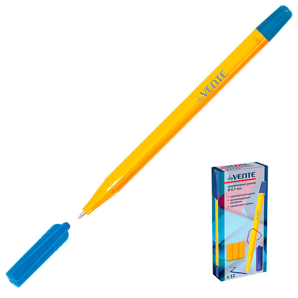Ручка синяя 0.7мм корпус трехгранный желтый
