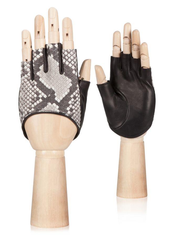 Короткие перчатки с кожей питона ELEGANZZA