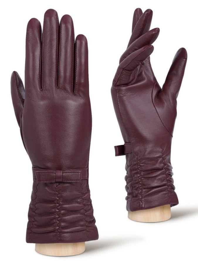 Женские перчатки с кожаным бантиком LABBRA