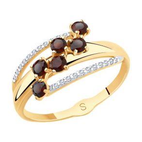Кольцо из золота с гранатами и фианитами 715541 SOKOLOV