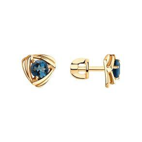 Серьги гвоздики из золота с синими топазами 726125 SOKOLOV