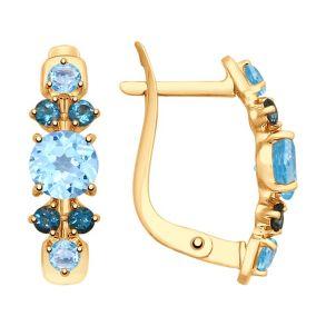 Серьги из золота с голубыми и синими топазами 725352 SOKOLOV