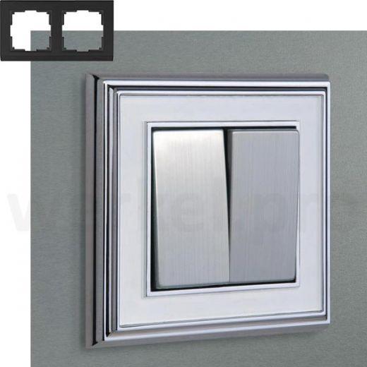 Рамка на 2 пост WL17-Frame-02 хром / белый