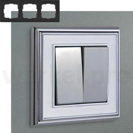 Рамка на 3 пост WL17-Frame-03 хром / белый