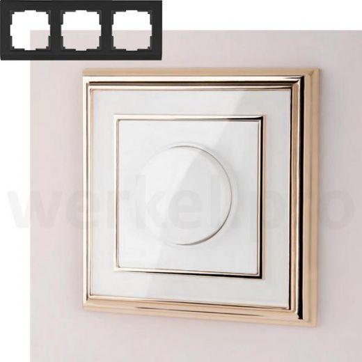 Рамка на 3 пост WL17-Frame-03 золото / белый