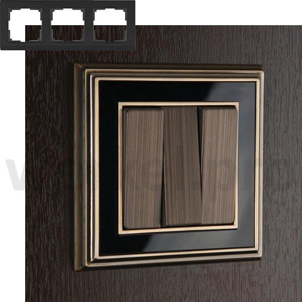 Рамка на 3 пост WL17-Frame-03 бронза / черный
