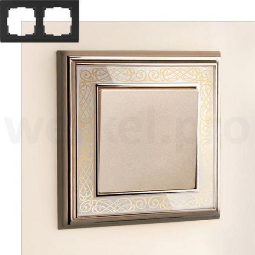 Рамка на 2 пост WL77-Frame-02 золото/белый