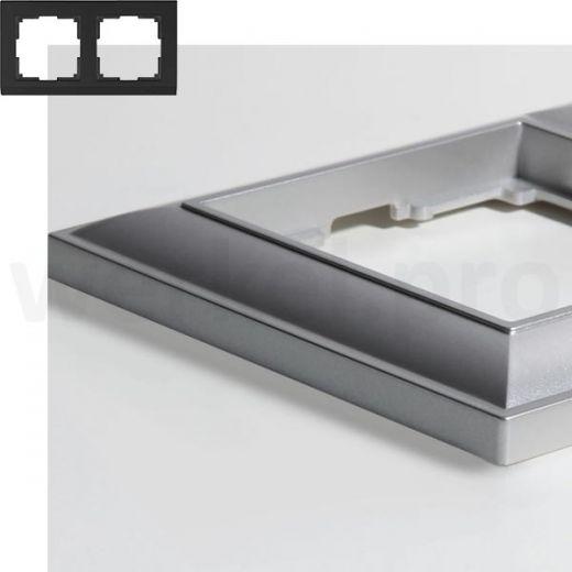 Рамка на 2 пост WL14-Frame-02 серебряный